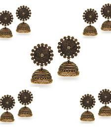Oxidised Gold Plated Jhumka Jhumki Earrings (Set Of 5 Pairs)