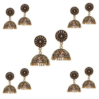 Indian Bollywood Oxidized Gold Plated Jhumka (Set Of 5 Pairs)