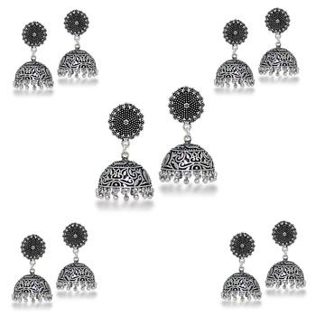 Ethnic Oxidised German Jhumka Jhumki Earrings (Set Of 5 Pairs)