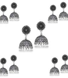 Ethnic Oxidised German Jhumka Jhumki Earrings (Set Of 5 Pairs)