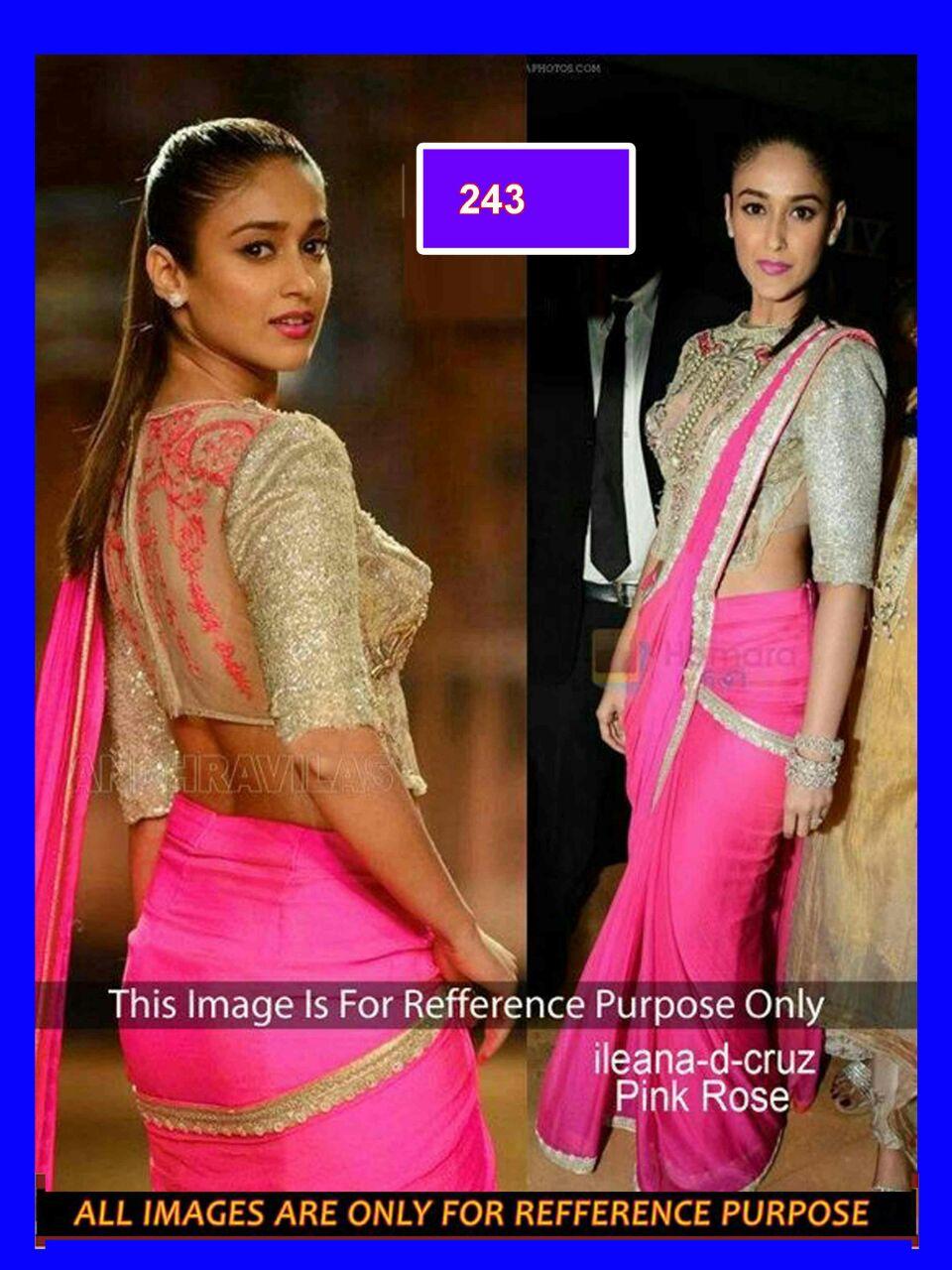 f66310b8402ab pink color plain chiffon sarees bollywood Illenana dCruz saree with blouse  - Bikaw - 333029