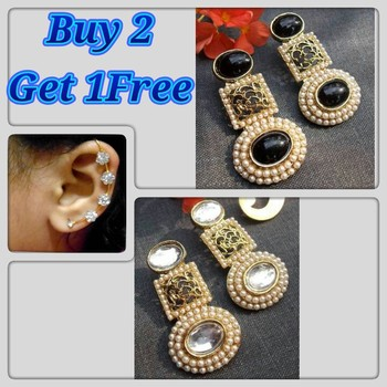 Buy 2 get 1 free pearl circle polki earrings