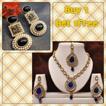 Buy 1 get 1 free dark blue kundan necklace set