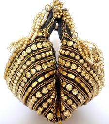 Buy Handmade Satin Beadwork Potli Bag- Black potli-bag online