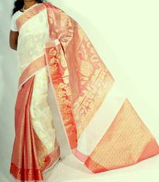 Buy Fancy Check Patli Pallu Banarasi saree cotton-saree online
