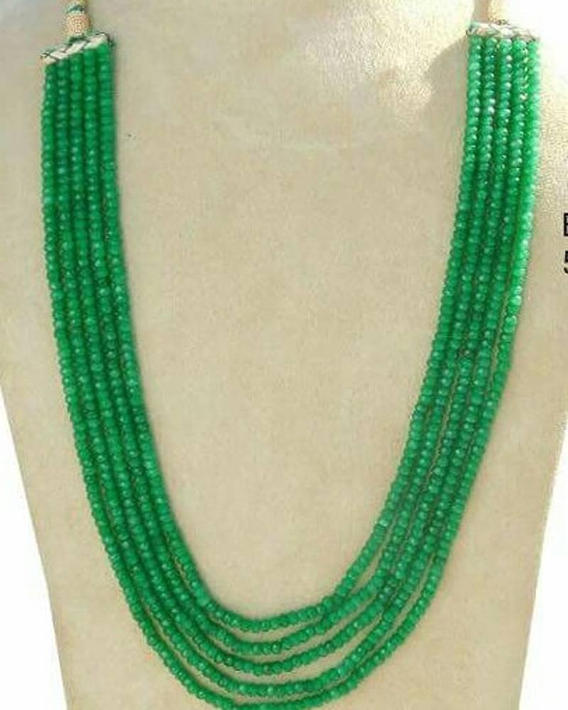 Kanjivaram Beads: Royal Green 5 Line Onex Beads Mala