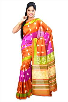0bfd4f6ff1c2b Multicolor printed art silk sarees saree with blouse. Shop Now