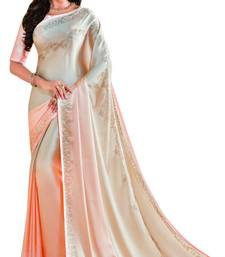 Buy Light multicolor embroidered faux satin saree with blouse women-ethnic-wear online