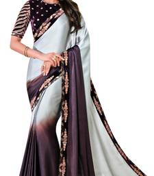Light multicolor embroidered faux satin saree with blouse