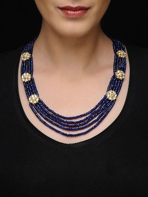 Gold Plated Kundan With Blue Onyx Multistrand Necklace
