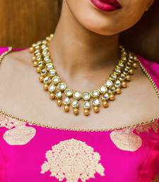 Buy Gold plated coin kundan and shell pearls necklace Necklace online