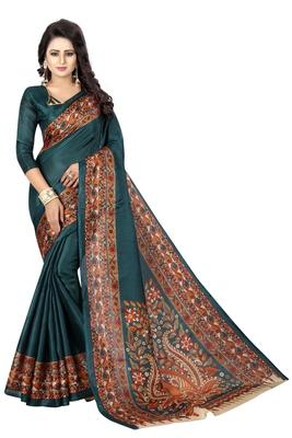 Teal printed bhagalpuri silk saree with blouse