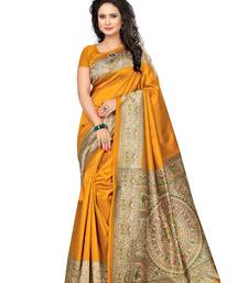 Buy Yellow printed art silk saree with blouse great-indian-saree-festival online
