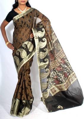 Supernet cotton banarasi tanchooi fancy zari saree
