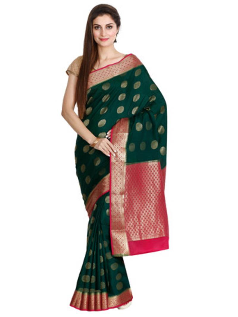 1070c7a89db Green pure silk mysore crape pure silk saree with blouse - banasuri ...