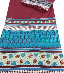 Buy Kromé maroon coloured lace work semi stitched rida dress rida online