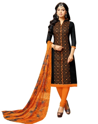 Black embroidered chanderi unstitched salwar kameez with dupatta