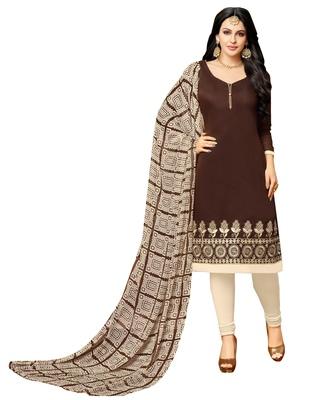 7cc1e8dd7d Brown embroidered chanderi unstitched salwar kameez with dupatta -  Rajnandini - 2472942