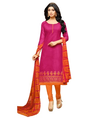Pink Embroidered Chanderi Unstitched Salwar Kameez With Dupatta
