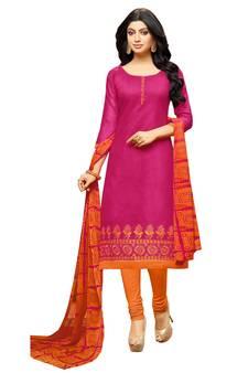 67fb56ed0f Pink embroidered chanderi unstitched salwar kameez with dupatta. Shop Now