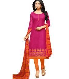 Pink Embroidered Chanderi Unstitched Salwar Kameez With Dupatta