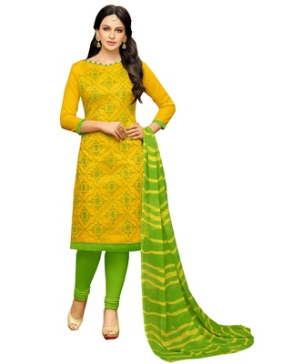 Yellow embroidered chanderi unstitched salwar kameez with dupatta