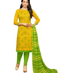 Yellow embroidered chanderi unstitched salwar kameez with dupatta