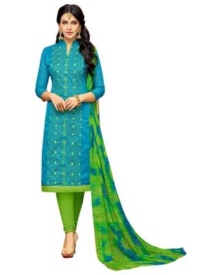 Blue Embroidered Chanderi Unstitched Salwar Kameez With Dupatta