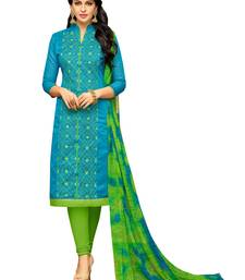 Blue embroidered chanderi unstitched salwar kameez with dupatta