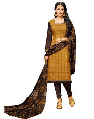Mustard embroidered chanderi unstitched salwar kameez with dupatta