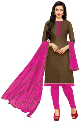 Brown Embroidered Jacquard Unstitched Salwar Kameez With Dupatta