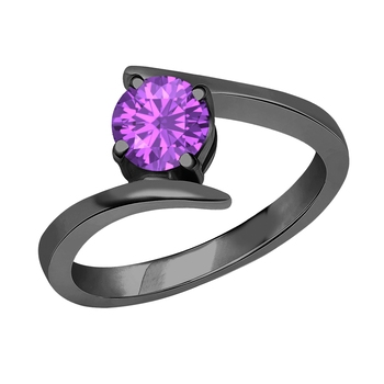 Beautiful 14K Black Gold Plated Round Created Amethyst Solitaire Wedding Engagement Ring