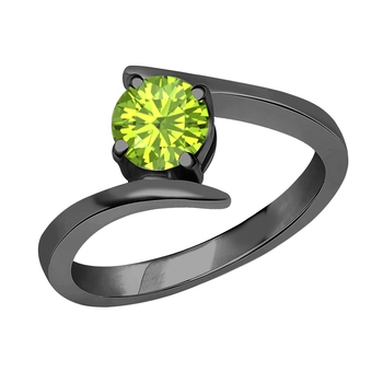 Beautiful 14K Black Gold Plated Round Created Peridot Solitaire Wedding Engagement Ring