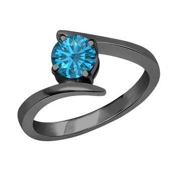Beautiful 14K Black Gold Plated Round Created London Blue Topaz Solitaire Wedding Engagement Ring