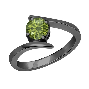 Beautiful 14K Black Gold Plated Round Created Tourmaline Solitaire Wedding Engagement Ring