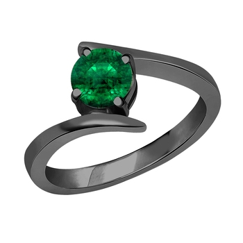Beautiful 14K Black Gold Plated Round Created Emerald Solitaire Wedding Engagement Ring