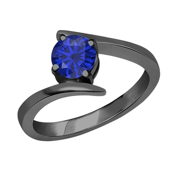 Lovely Round Created Blue Sapphire In 14K Black Gold Plated Solitaire Engagement Wedding Ring