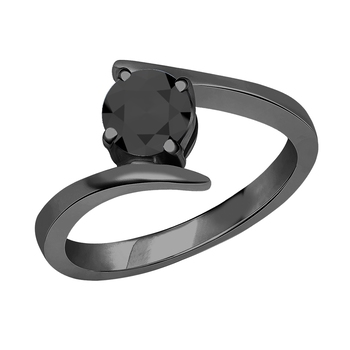 Lovely Round Cut Black CZ Diamond In 14K Black Gold Plated Solitaire Engagement Wedding Ring