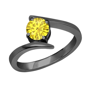 Lovely Round Cut Created Yellow Sapphire In 14K Black Gold Plated Solitaire Engagement Wedding Ring