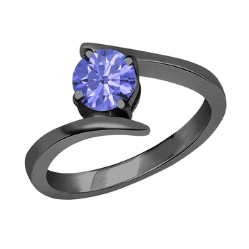 Lovely Round Cut Created Tanzanite In 14K Black Gold Plated Solitaire Engagement Wedding Ring