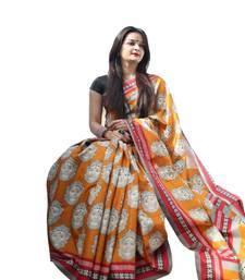Buy Orange printed art silk saree with blouse handloom-saree online