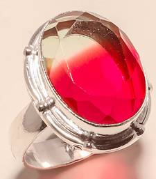 Buy Bi-color tourmaline gemstone 925 silver handmade jewelry ring 8.5 gemstone-ring online