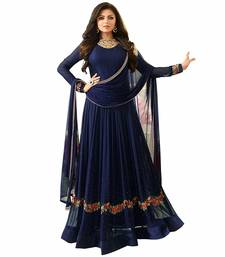 Buy Blue embroidered georgette Anarkali suit anarkali-salwar-kameez online