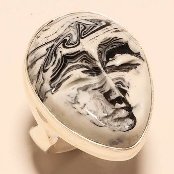 Carved Zebra Jasper Face Gemstone 925 Silver Jewelry Ring 9 25 Silver Products 2476078
