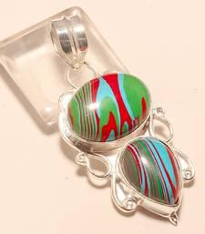"Buy Rainbow calsilica gemstone 925 silver jewelry pendant 2.15"" gemstone-pendant online"
