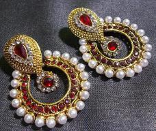 Maroon Pearl Polki Earrings
