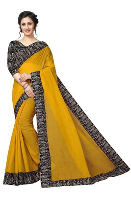 Yellow woven chanderi cotton saree with blouse