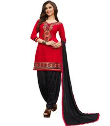 Buy Red embroidered cotton semi stitched salwar with dupatta punjabi-suit online