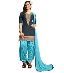 Buy Grey embroidered cotton semi stitched salwar with dupatta punjabi-suit online