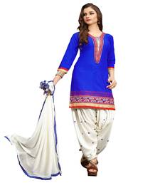 Buy Blue embroidered cotton semi stitched salwar with dupatta punjabi-suit online